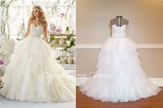 Wedding Dress by Custom Dream Gowns! Crystal Beaded Organza & Satin Ball Gown with a Sexy Beaded Sweetheart Neckline, Crystal Beaded & Embroidered Fitted Bodice with Beaded Satin Belt at Natural Waist, Gathered Organza Layered Ball Gown Skirt, Chapel Train, Embellished Back with Covered Buttons Over Hidden Zipper. #weddingdress #ruffles #chapeltrain #sweetheart #strapless #bridalgown #customweddingdress #usa #weddingfashion #weddingstyle #bride #beautiful #customdreamgowns