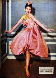 Pink gown by Yves Saint Laurent for Dior, 1958
