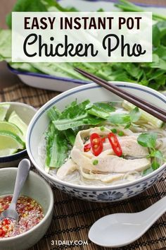 Skip takeout and make this simple Instant Pot favorite Easy Instant Pot Chicken … – foodvegetarian Easy Pasta Recipes, Easy Dinner Recipes, Soup Recipes, Healthy Recipes, Healthy Food, Heathy Soup, Chicken Pho, Asian Chicken, Vegetarian Pho