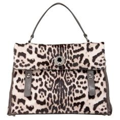 Pre-Owned Ysl Yves Saint Laurent Muse Two Bag Leopard Print Leather... ($1,025) ❤ liked on Polyvore featuring bags, handbags, brown, hand bags, brown handbags, leather hand bags, leather pouch and man bag