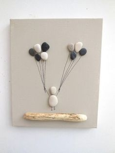 Birth Table, Art Deco, Baptism Gift, Floatwood and Pebbles - Fairy painting of pebbles with balloons: Collages by ingrid-creations Stone Crafts, Rock Crafts, Fun Crafts, Diy And Crafts, Arts And Crafts, Art Pierre, Art Diy, Creation Deco, Diy Home Decor Projects