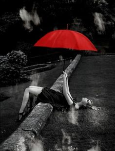 A splash of red in an umbrella of black and white photography! I love colors! They enrich us, but black and white photography strips all to the infinities of a photo/image! Umbrella Art, Under My Umbrella, Color Splash, Color Pop, Walking In The Rain, Singing In The Rain, Splash Photography, Black And White Photography, Arte Black