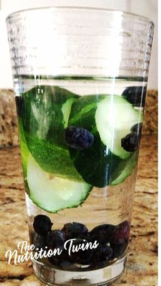 Cucumber Blueberry Water Flush | Only 32 Calories | Helps Flush Out Colon To Flatten Belly | Restores Normal Hydration Status to Flush Bloat & Puffiness | Helps fight inflammation and damage from toxins | For MORE RECIPES please SIGN UP for our FREE NEWSLETTER www.NutritionTwins.com
