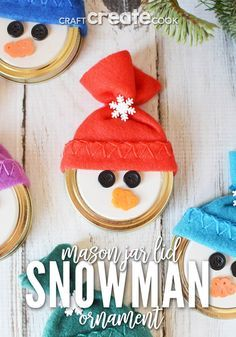 This easy to make Mason Jar Lid Snowman Ornament is so cute you'll want to make at least a dozen! This easy to make Mason Jar Lid Snowman Ornament is so cute you'll want to make at least a dozen! Jar Lid Crafts, Ornament Crafts, Snowman Ornaments, Mason Jar Crafts, Mason Jar Snowman, Diy Snowman, Tree Crafts, Canning Jar Lids, Mason Jar Lids