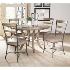 Hillsdale Charleston 5 Piece Round Desert Tan Wood Dining Set with Ladder Back Chairs - HL3240