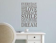 Vinyl Wall Decal-Everyday LOVE SMILE DREAM- Vinyl Wall Quotes- Family Decor- Living Room Decor- Bathroom- Bedroom by landbgraphics on Etsy