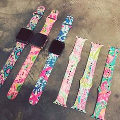Monogrammed Lilly Pulitzer Inspired Apple Watch Band Monogrammed Lilly Pulitzer Inspired Apple Watch Band This image has get Apple Watch Accessories, Tech Accessories, Macbook Accessories, Smartwatch, Ipad, Apple Products, Hair Products, Beauty Products, Apple Watch Bands