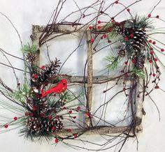 Cardinal Wreath Holiday Wreath Square by CrookedTreeCreation