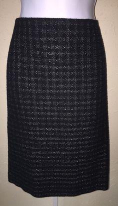 Ann Taylor Black Gray Tweed Straight Pencil Skirt Fine Italian Fabric Size 12 | eBay
