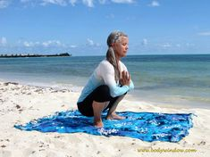 Squat Pose on a beach in Playa del Carmen, Mexico. You may want to hold this pose for minutes. It is a real hip, knee and ankle opener. Sciatica Stretches, Sciatica Pain, Yin Yoga Poses, Prayer Position, Back Pain, Squats, Beach Mat, Outdoor Blanket, Playa Del Carmen