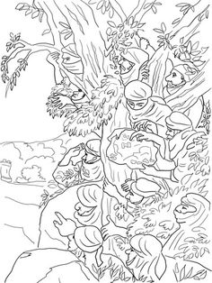 The Expulsion of Hagar and Ishmael coloring page from