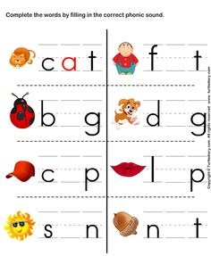 I like this worksheet because the student has to figure out the sound that goes in the word, and what letter makes that sound. This is great for k-1 grade!  http://kiduls.net/phonic-worksheets