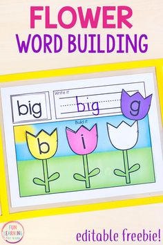 This flower word building activity makes learning phonics and spelling fun and hands-on this spring! Your kids will love these Read it, Write it, Build it mats. #literacycenters #springactivities #literacyfreebies #kindergarten #firstgrade