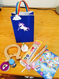 Rainbow unicorn party favor bags and goodies