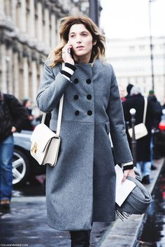 Love the colour and cut of the coat.beautiful bag