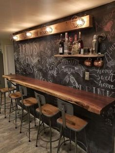 65 Best and Cool Home Bar Design Confused to make a bar room? On the topic of design for our favorite home is to discuss the design of the bar room that will be in our home. Basement Renovations, Home Remodeling, Basement Ideas, Basement Stairs, Basement Decorating, Basement Bar Designs, Bar Designs For Home, Rustic Basement Bar, Cozy Basement