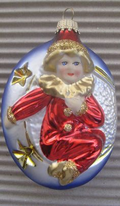 Lauscha, Germany blown glass harlequin child Christmas ornament