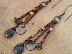 Etsy uk Rustic Copper and Tiny Seed Bead Dangle by Aprilands, £17.00