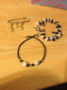 Beach Blue & White Seashell Bracelet, Anklet and Pin