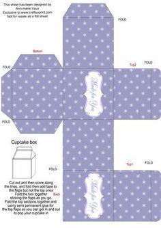 Blue Christmas Flake Single Cupcake Presentation Box on Craftsuprint - Add To Basket!