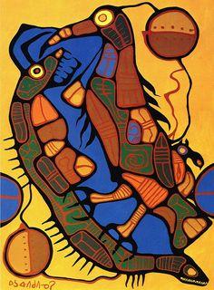Norval Morrisseau Native Art, Native American Art, Native Canadian, Woodland Art, Inuit Art, Indian Artist, Indigenous Art, Art Themes, Canadian Artists