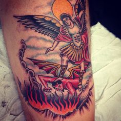 Find your next tattoo Saint Michael Statue, St Michael, Statue Tattoo, Icarus Tattoo, Engel Tattoo, Angel Warrior, Angel And Devil, American Traditional, Tattoo Designs