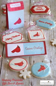 Beautiful Holiday Sugar Cookies with Cardinal birds and snowflakes. DIY Gift Idea with printable tags, boxes and labels.