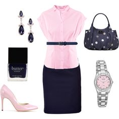 Navy and Pink work outfit