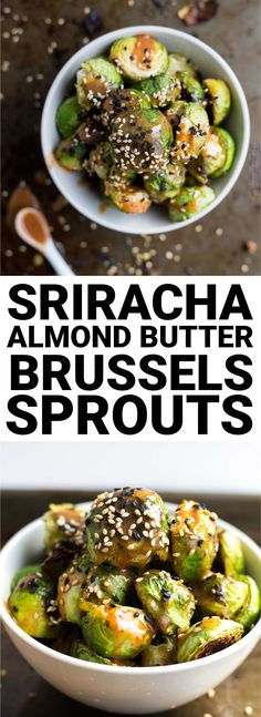 Sriracha Almond Butter Roasted Brussels Sprouts: these are ADDICTIVE! A naturally gluten free, vegan, and healthy side, these will be your newest obsession! || fooduzzi.com recipe