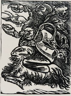 """""""Walpurginacht"""", n.d., Ernst Barlach, German (1870-1938), woodcut on paper, 11 1/2 x 9 3/8 in. Museum purchase with funds from the Benefactors Fund, 1976. 1976.2362"""