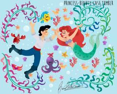 Ariel [as a mermaid] & Eric [feat. Flounder & Sebastian] (Drawing by Princess-Beauty-Case @Tumblr) #TheLittleMermaid