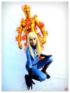 Characters: The Invisible Girl & The Human Torch / From: MARVEL Comics 'The Fantastic Four' / Cosplayers: Nayelli De Vanegas (aka HikariKosmaker) as The Invisible Girl & Unknown as The Human Torch
