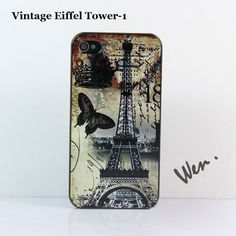 Vintage Eiffel Tower iPhone Case for 4/4S Checks by Weniphonecase, $9.99