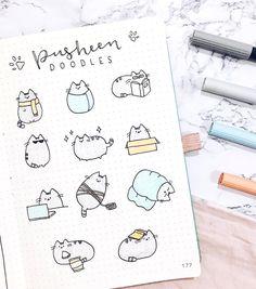Pusheen doodles by Bullet Journal Aesthetic, Bullet Journal Notebook, Bullet Journal Ideas Pages, Bullet Journal Inspiration, Cute Easy Drawings, Kawaii Drawings, Doodle Drawings, Doodle Art Journals, Cute Doodles