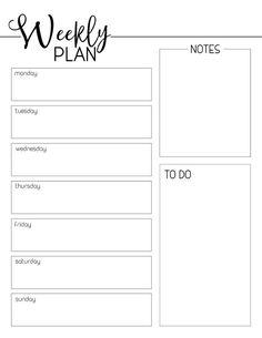 Free Printable Weekly Calendar, Weekly Planner Template, Printable Planner Pages, Templates Printable Free, Printable Paper, Schedule Templates, Blank Calendar, Goals Printable, Meal Planning Printable