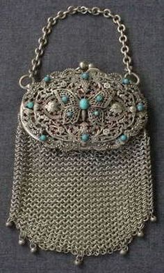 Trendy Women's Purses : ANTIQUE JEWELED FILIGREE BUTTERFLY METAL MESH PURSE - #Bags