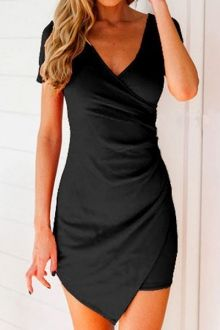 Plunging Collar Solid Color Bodycon Dress - I like this. Do you think I should buy it?