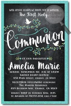 Vintage Chalkboard Doves Communion Invitation, professionally printed first communion invitations, first communion invitation ideas for girls, vintage communion invites, girls first holy communion