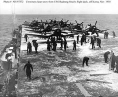USS BADOENG STRAIT (CVE-116). USSBadoeng Strait (CVE-116). Crewmen clear snow from the carrier's flight deck, during operations off the Korean coast, 14 November 1950. 8X10 PHOTO. Official U.S. Navy Photograph, from the collections of the Naval Historical Center. | eBay!