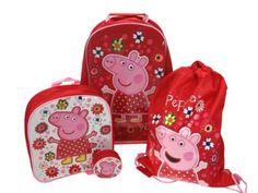Peppa Pig tropisches Paradies 4 Stück Gepäck Set - Trolley-Tasche, Rucksack, Schwimmen-Tasche und Geldbörse