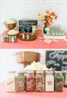 Popcorn bar seasoning ideas. Captured By: Jodi Miller Photographry ---> http://www.weddingchicks.com/2014/05/21/laura-hooper-calligraphy-workshop/