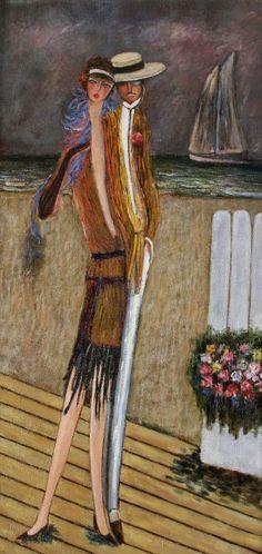 Ramon DILLEY (né en 1933) Couple sur la croisette, 2004 Acrylique sur toile. Signée en bas à droite 126 x 63 cm - Ader - 19/01/2016