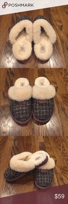 UGG slippers These purple ugg slippers are very cozy and warm. Perfect slippers for the cold weather ahead. Good condition only worn a few times. The only very minimal wear and tear is on the the bottom of the shoe as shown in the picture. I wear a size 8 1/2 to 9 shoe and these fit perfect and still have an inch of extra room. UGG Shoes Slippers