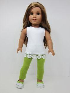 American Girl doll clothes -Sleeveless white tunic top with flowered trim & green leggings by JazzyDollDuds.