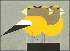 I (heart) Charley Harper Illos. An understanding of shape, like his, is food for my eyes. Gregarious Grosbeaks lithograph print by Charley Harper