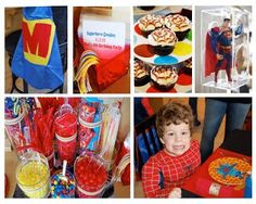 Superhero Birthday with lots of colorful candy. Big M cape