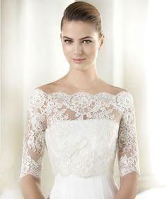 New white off shoulder lace bridal shawl short sleeve wedding shrugs dress UK