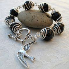 Bracelet - Black Faceted Agate Wire Wrapped with Bird Charm