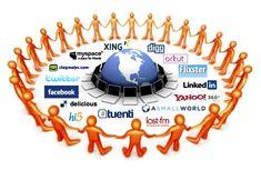 Representación gráfica de las diferentes redes sociales y una ronda de todas las personas involucradas en el uso de las mismas.
