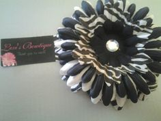 3in Black & White Zebra Print Gerber Daisy Head Band - You choose Size and band. $7.00, via Etsy.